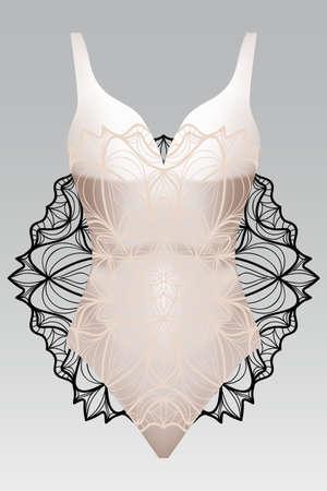 Summer swimsuit with modern design beige color mandala ornament.
