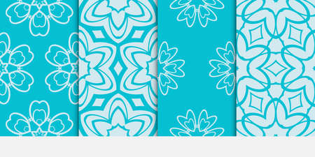 set of fashion design floral seamless pattern. Luxury texture for wallpaper, invitation. Vector illustration. blue color.