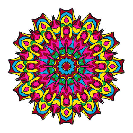 Round floral pattern. Decorative coloring Mandala. for tattoo, invitation card, yoga symbol, relax therapy.