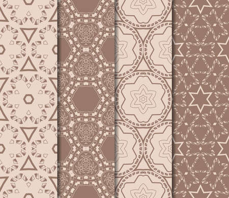 set of beautiful seamless pattern with transformed geometric shape. abstract vector illustration.  イラスト・ベクター素材