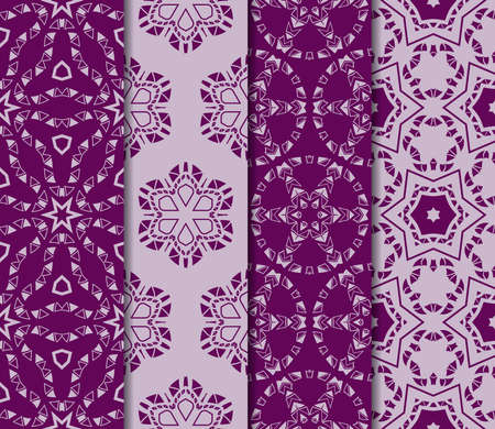 Set of 4 Seamless vector texture with an abstract pattern of intertwined curves, geometric shapes in floral style. For the design of greeting cards, gift packages, textile industry. purple color
