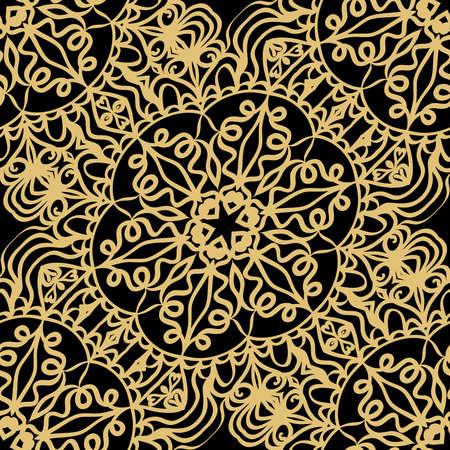 Creative floral seamless background. black, gold color. vector illustration for background, wallpaper