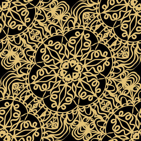 Creative floral seamless background. black, gold color. vector illustration for background, wallpaper