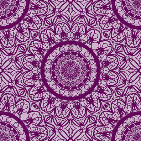Lace floral seamless pattern. decorative beautiful ornament with hand drawn elements. vector illustration. purple color.
