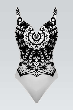 Vector illustration of a female swimsuit. modern print with Indian mandala. fashion design