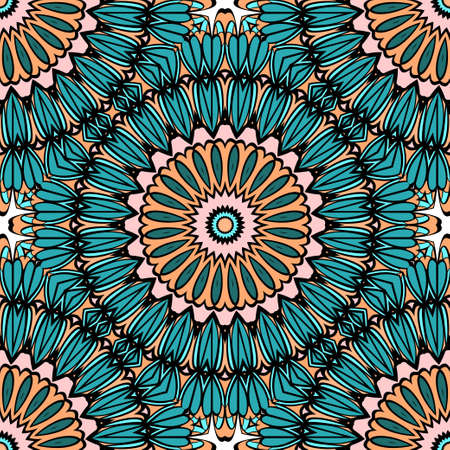 Coloring seamless pattern with flower mandala design vector illustration Illustration