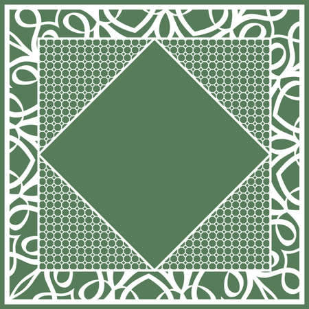 Geometric green ornamental border design.