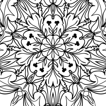 Floral mandala pattern hand drawn henna tribal paisley background vector illustration