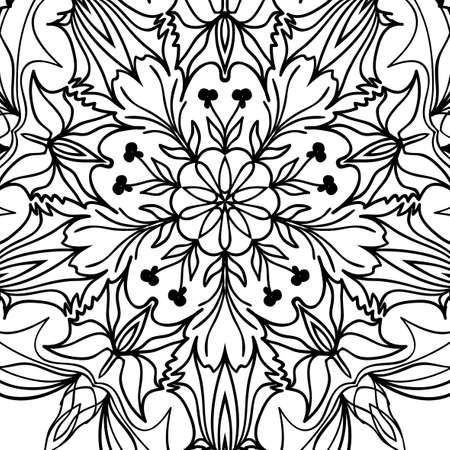 Floral mandala pattern hand drawn henna tribal paisley background vector illustration