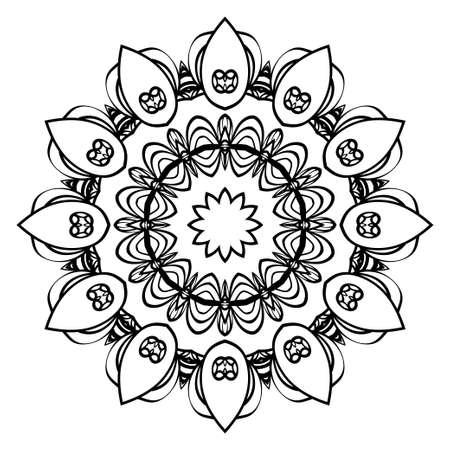 Decorative round ornament. Anti-stress therapy pattern. Illustration