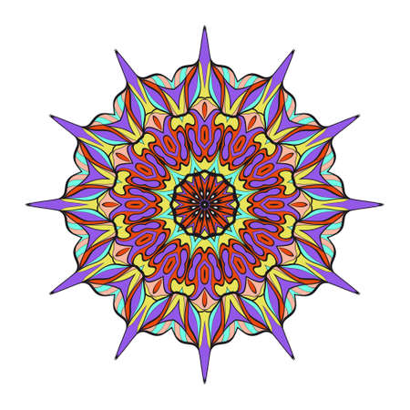 Decorative round ornament anti stress therapy pattern hand drawn vector design.