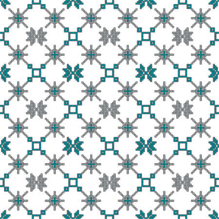 Scheme for embroidery Cross stitch pattern for clothing, Mosaic seamless pattern, Ethnic ornament.