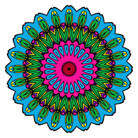 Round floral pattern. Decorative coloring Mandala. Design element for tattoo, invitation card, yoga symbol, relax therapy Imagens - 97693706