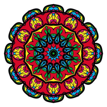 Mandala spiritual symbol isolated on white background. Indian ornament. Vector illustration.
