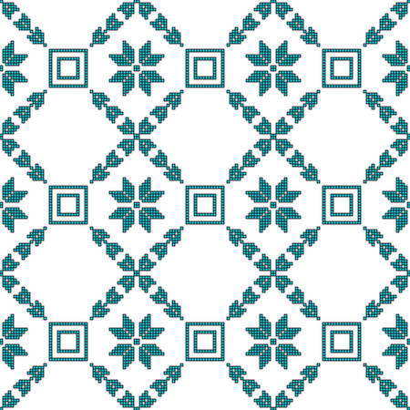 scheme for embroidery Cross stitch pattern for clothing. Mosaic seamless pattern. Ethnic ornament. vector. For embroidery pattern. for the textile industry, home crafts Standard-Bild - 97909134