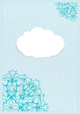 Template Invitation with a Cloud for Text, Background Lace Ornament. Vector illustration. Blue color. For Design Invitations, Postcards