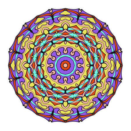 Hand drawn colorful Mandala on a white background. Vector pattern. for greeting card, invitation, tattoo, yoga and spa symbol