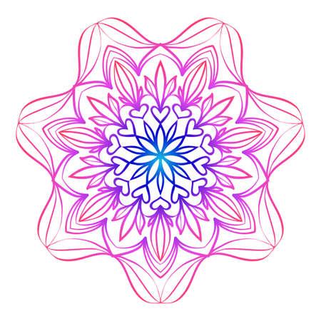 floral mandala. creative anti-stress ornament. vector illustration blue, purple color.