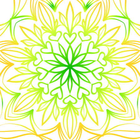 Summer color floral background in hand drawn ethnic decorative ornament. Illustration