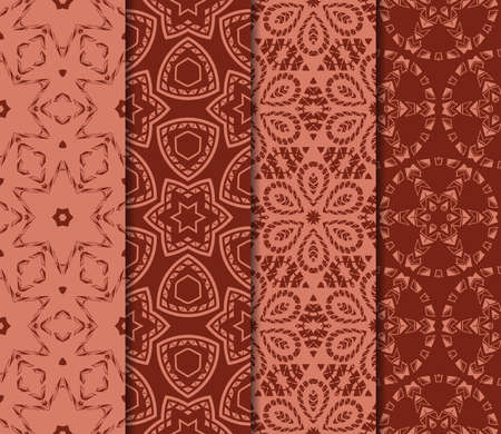 set of 4 geometric pattern of intersecting wavy and curved lines. vector illustration. brick color