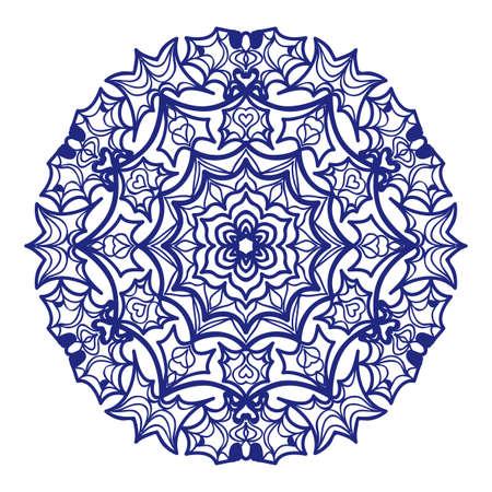 Ethnic mehndi mandala style henna tattoo in Indian  on decorative illustration.