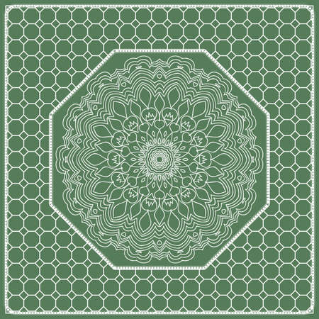 Square composition in geometric Lace Pattern. Floral Mandala Background for Scarf Print, Fabric, Covers, Scrapbooking, Bandana, Pareo, Shawl, Carpet design. Vector Illustration, green color