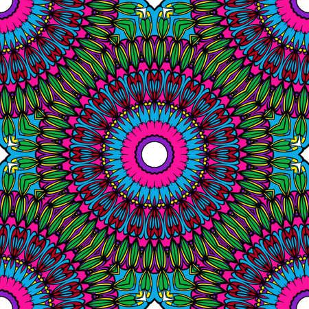 Bright color seamless floral mandala pattern. vector illustration. design for invitation card, background, fabric print Illustration