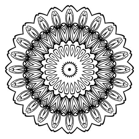 Vector oriental round pattern, Mandala for coloring page, greeting card, invitation, tattoo.
