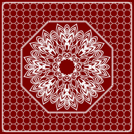 Red mandala pattern with geometric lace frame.
