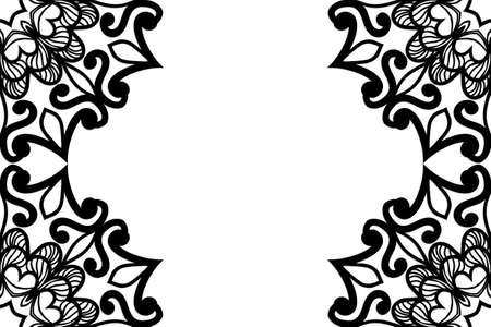 Vector greeting with decor floral ornament. Black and White color. For greeting card, invitation design Çizim