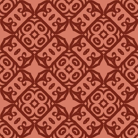 seamless geometry pattern of intersecting curved lines. vector illustration. texture for design wallpaper, pattern fills, fabric, wrappingg paper. brick color Ilustracja