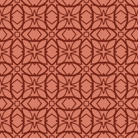 seamless geometry pattern of intersecting curved lines. vector illustration. texture for design wallpaper, pattern fills, fabric, wrappingg paper. brick color Ilustração