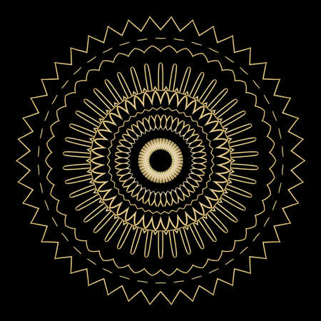 Black background with gold color mandala ornament. Illustration
