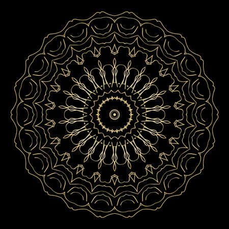 Black background with gold-colored mandala ornament. vector illustration. Illustration