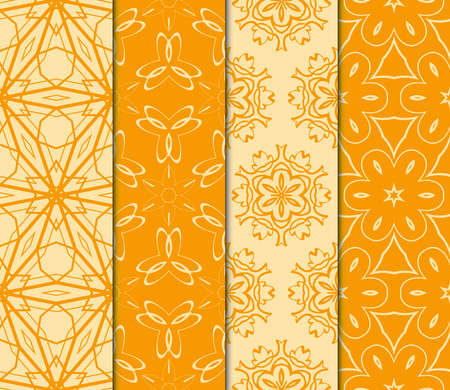 Set of orange geometric ornament.