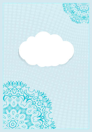 Template Invitation with a Cloud for Text, Background Lace Ornament. Vector illustration.
