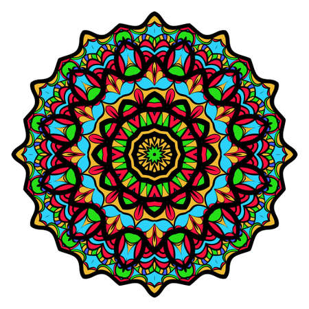 Coloring flower Mandala, vector illustration, ethnic tribal tattoo motive. Anti-stress illustration