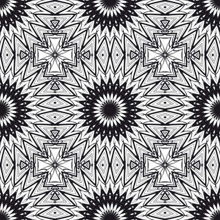 Floral Geometric Line seamless Pattern.   For fabric print, textile, background Vector illustration.