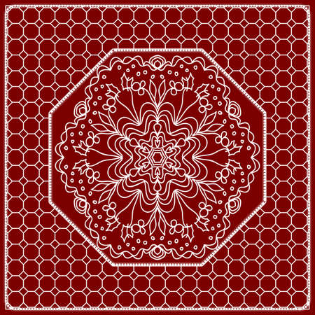 Red mandala background, geometric pattern with ornate lace frame. Vector illustration. for Scarf Print, Fabric, Covers, Scrap booking, Bandana, Pareo, Shawl, Carpet design.