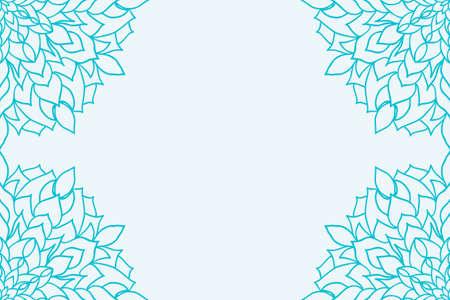 Template for Business Card. Decorative elements. Ornamental floral mandala pattern. vector illustration. Arabic, Indian, Turkish, Ottoman motifs. blue color
