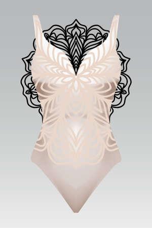 Summer swimsuit with modern design beige color mandala ornament. fashion vector illustration. for design summer cloth. mandala black color background layaer Illustration