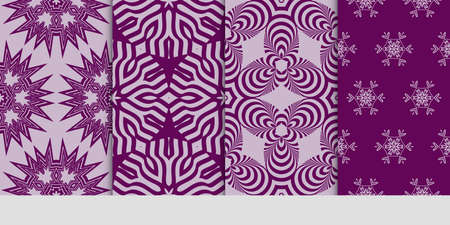 Set of seamless pattern with geometric floral style background. for printing on fabric, paper for scrapbooking, wallpaper, cover, page book. vector illustration. purple color