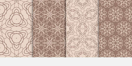 Set of Ornamental design. Modern seamless geometry pattern. Vector illustration. For interior design, printing, web and textile design. beige color.