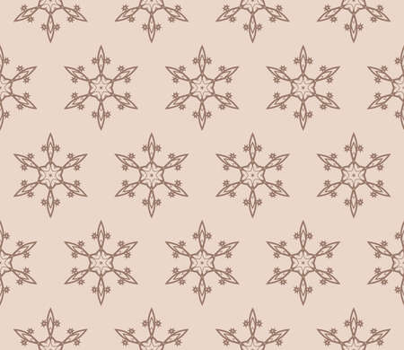 geometric design with floral ornament. seamless vector illustratio. coffee color. print for fabric, wallpaper
