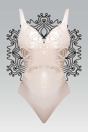summer swimsuit with modern design beige color mandala ornament.  fashion vector illustration. for design summer cloth. mandala black color background layaer