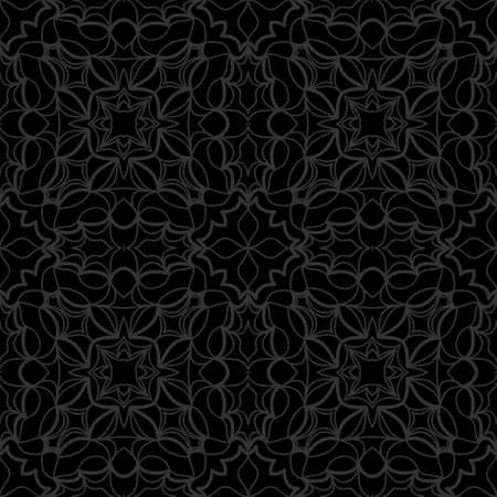 Dark monochrome color Art decor Lace pattern with abstract geometric flowers. Seamless vector illustration. Ilustração