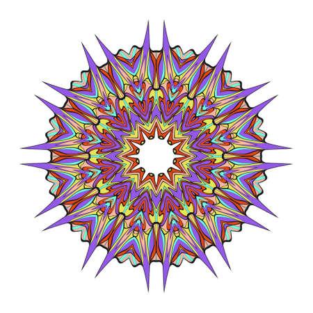 Decorative round ornament. Anti-stress therapy pattern. Hand drawn vector frame design. Illustration