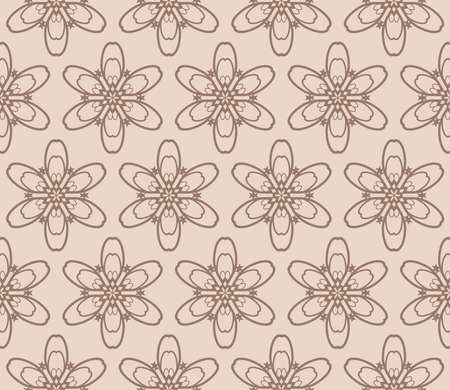 geometric design with floral ornament. seamless vector illustration. coffee color. Vectores