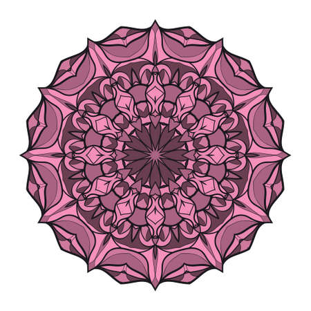 mandala round ornament design.Vector illustration. purple color