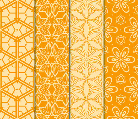 Set of geometric ornament. seamless pattern. vector illustration in orange color